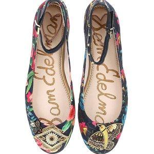 Sam Edelman Ferrera Embellished Ankle Strap Flats